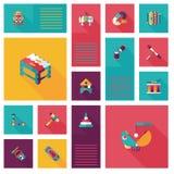 Embrome el fondo plano del ui del app de los juguetes, eps10 Imagenes de archivo