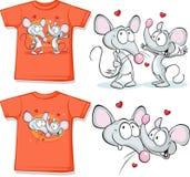 Embrome la camisa con los mouses lindos en amor impresos ilustración del vector