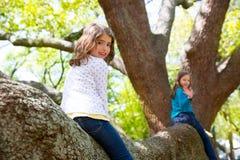 Embrome a las muchachas de los niños que juegan montando una rama de árbol Foto de archivo libre de regalías