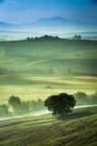 Embrumez dans la vallée au lever de soleil, Toscane Photos libres de droits