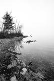Embrumez l'augmentation outre de la rivière d'Ottawa - rivage avec la lumière du soleil diffuse photos stock