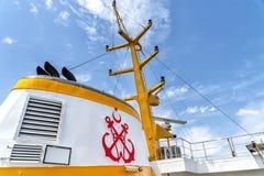 Embudo de un buque de pasajeros de Sehir Hatlari, Estambul, Turquía imagen de archivo libre de regalías