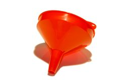 Embudo plástico rojo Foto de archivo libre de regalías
