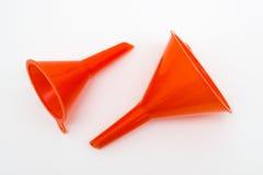 Embudo plástico rojo fotos de archivo libres de regalías