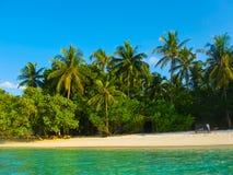 Embudu村庄海岛, Maledives,印度洋 免版税库存照片