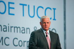 EMC CEO  Joe Tucci makes speech at Oracle OpenWorld conference Royalty Free Stock Photos