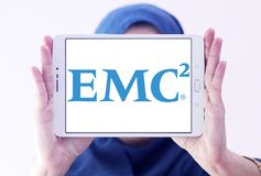 EMC2 data storage company logo. Logo of EMC2 data storage company on samsung tablet holded by arab muslim woman. Dell EMC is an American multinational Royalty Free Stock Photos