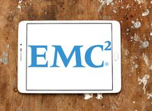 EMC2 data storage company logo. Logo of EMC2 data storage company on samsung tablet on wooden background. Dell EMC is an American multinational corporation. It Royalty Free Stock Photo
