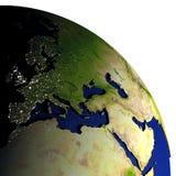 EMEA gebied bij nacht op model van Aarde met in reliëf gemaakt land Royalty-vrije Stock Foto
