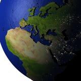 EMEA gebied op model van Aarde met in reliëf gemaakt land Royalty-vrije Stock Afbeeldingen