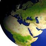 EMEA gebied op model van Aarde met in reliëf gemaakt land Stock Afbeeldingen