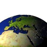 EMEA gebied op model van Aarde met in reliëf gemaakt land Royalty-vrije Stock Fotografie