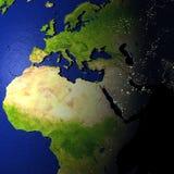 EMEA gebied op model van Aarde met in reliëf gemaakt land Royalty-vrije Stock Foto's