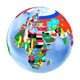 Emea-Region auf politischer Kugel mit den Flaggen lokalisiert auf Weiß vektor abbildung