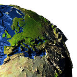 EMEA region on Earth with exaggerated mountains. EMEA region on model of Earth with exaggerated surface features including ocean floor. 3D illustration. Elements Stock Image
