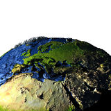 EMEA region on Earth with exaggerated mountains. EMEA region on model of Earth with exaggerated surface features including ocean floor. 3D illustration. Elements Royalty Free Stock Photography