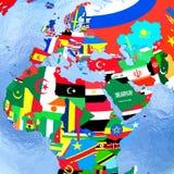 EMEA region on political globe with flags. EMEA region on political globe with national flags embedded in map. 3D illustration Royalty Free Stock Photos