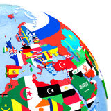 EMEA region on political globe with flags. EMEA region on political globe with national flags embedded in map. 3D illustration Royalty Free Stock Photography