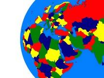 EMEA region on political globe Stock Photography