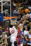 Emeka Okafor Tries To Block Tayshaun Prince Royalty Free Stock Photography