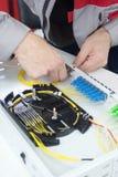 Emendando o cabo de fibra ótica na bandeja da especiaria com imagens de stock