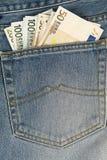 Emendas do clássico nas calças de brim Imagens de Stock