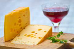 Free Emental Cheese And Wine Stock Photography - 28192822