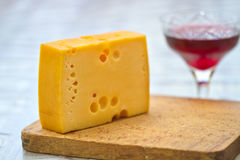 Emental cheese and wine Stock Photos