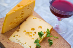 Emental cheese and wine Stock Image