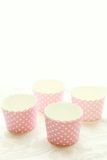 Emepty round muffin cups Stock Photos