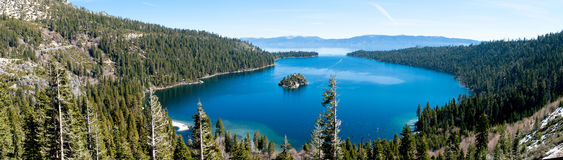 Emerald Bay. Panoramic view of Emerald Bay at Lake Tahoe stock images