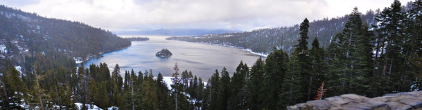 Emerald Bay. Panorama of Emerald Bay, Lake Tahoe during the winter Royalty Free Stock Image