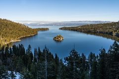 Emerald Bay and Fannette Island, Lake Tahoe, California, USA stock photo