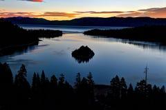 Emerald Bay, il lago Tahoe, California, Stati Uniti Fotografia Stock