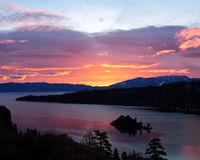 Emerald Bay - Lake Tahoe. Emerald Bay in Lake Tahoe at Sunrise royalty free stock image