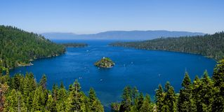 Emerald Bay, Lake Tahoe. Panorama of Emerald Bay, Lake Tahoe royalty free stock photos