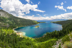Emerald Bay, Lake Tahoe. Emerald Bay with boats cruising around the island, Lake Tahoe stock photo