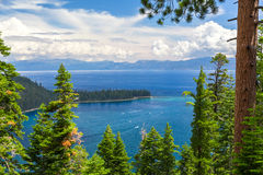 Emerald Bay, Lake Tahoe. Boats entering the Emerald Bay area stock photo