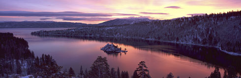 Emerald Bay, Lake Tahoe, CA. This is Emerald Bay in Lake Tahoe, CA at sunrise after a winter snow storm. There is snow on the land surrounding the bay stock photography