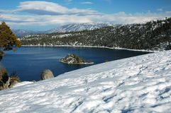 Emerald bay, Lake Tahoe, California. Emerald bay in Lake Tahoe, California. Snowy foreground. Fannette island is visible royalty free stock photo