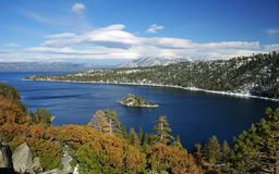 Emerald bay, Lake Tahoe, California. A shot of Emerald bay in Lake Tahoe, California - a famous ski destination. Fannette island in center stock photos