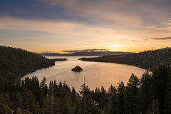 Emerald Bay on Lake Tahoe with snow on mountains Royalty Free Stock Photos