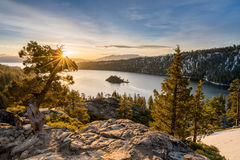 Emerald Bay on Lake Tahoe with snow on mountains Stock Photography