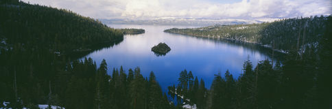 Emerald Bay at Lake Tahoe in winter, California royalty free stock image