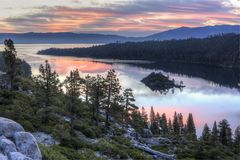 Emerald Bay Sunrise. Colorful sunrise over Emerald Bay and Eagle Point off Lake Tahoe in California royalty free stock images