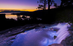 Emerald Bay Sunrise Waterfall. At Lake Tahoe California stock photo