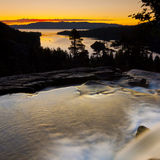 Emerald Bay Sunrise Waterfall Stock Photo