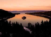 Emerald Bay after sunset. Lake Tahoe royalty free stock photos