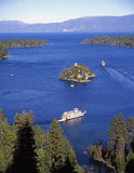 Emerald Bay & Tour Boats, Lake Tahoe. Tour Boats in the Emerald Bay part of Lake Tahoe stock photo