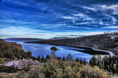 Emerald Bay. View of Emerald Bay on Lake Tahoe, facing East. HDR photograph, combining best parts of multiple exposures to provide full details of scene royalty free stock photo